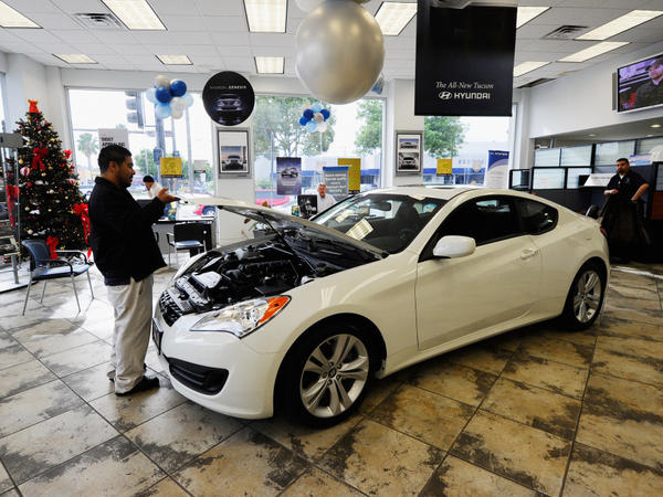<p>A Hyundai Genesis Coupe is on display in a showroom in Glendale, Calif., last January.</p>