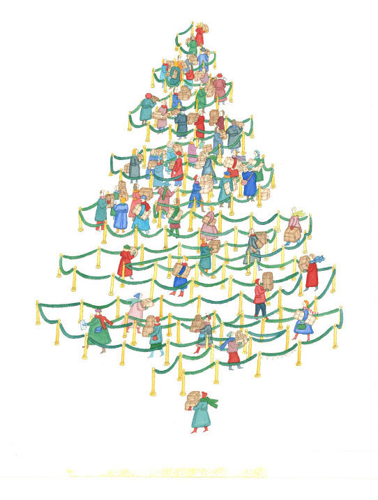 <p>This work, called <em>The Christmas Tree Line,</em> is one of Johnson's famous pieces that ran in <em>The New Yorker</em> in 1985 well before she became ill. It has layers of meaning if you look at it closely, says Barbara Landau, a professor of cognitive science at Johns Hopkins University. </p>