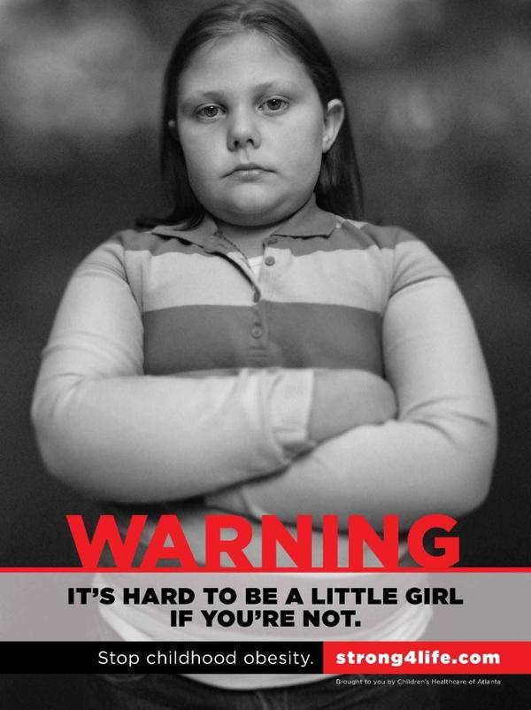 """In one of the print ads in Children's Healthcare of Atlanta's Strong4Life campaign, a young girl says she doesn't like going to school, because """"all the other kids pick on me. It hurts my feelings."""""""