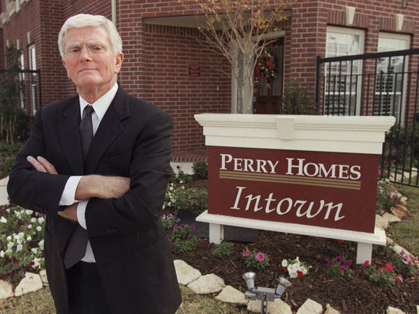 Houston home builder Bob Perry at the sales center of one of his developments in 2002.