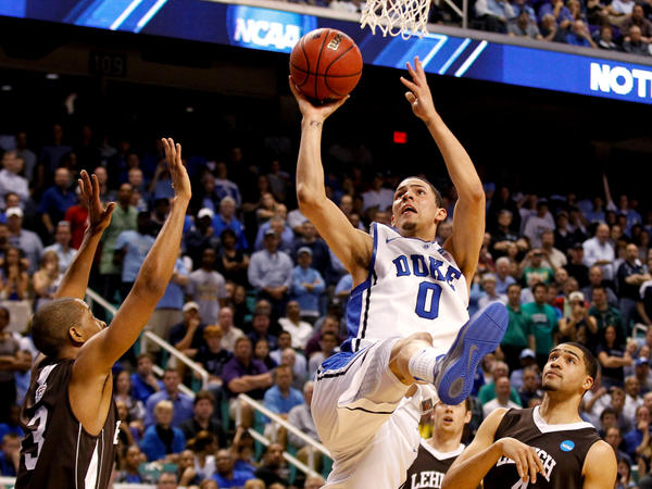 Duke freshman Austin Rivers, seen here in the Blue Devils' loss to Lehigh in the NCAA tournament, is leaving school for the NBA draft. The trend of athletes spending only one year in college has hurt the sport, says Frank Deford.