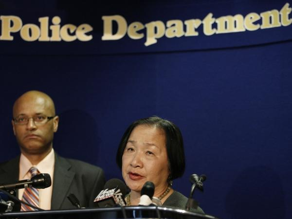 Oakland Mayor Jean Quan and Oakland Police Chief Howard Jordan address reporters after a gunman allegedly killed seven people at a California religious college. The suspect, identified as One Goh, is a 43-year-old Korean who has been living in the United States.