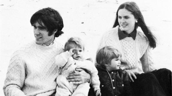 Mitt Romney already had a young family during his time at Harvard, which set him apart from most other students. Here, Romney is with his wife, Ann, and two sons at a business school clambake in 1973.