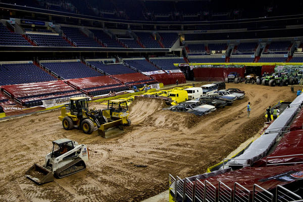 The Monster Jam tour begins in the late winter each year and ends in March — visiting major cities in the U.S., Canada and Europe. The large venues that host these events, such as Washington, D.C.'s Verizon Center arena featured in this photo, begin their preparations for the show almost three weeks before the night of the event.