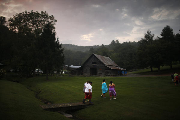 Students walk through the scenic campus of Wellspring Academy, a boarding school for overweight children, located near Asheville, N.C. In addition to taking regular academic classes, students learn to control weight through a healthful diet, exercise and counseling.