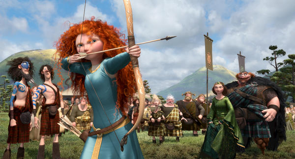 In <em>Brave</em>, the character of Merida is a skilled archer and sword fighter who rebels against what is expected of her as a princess.