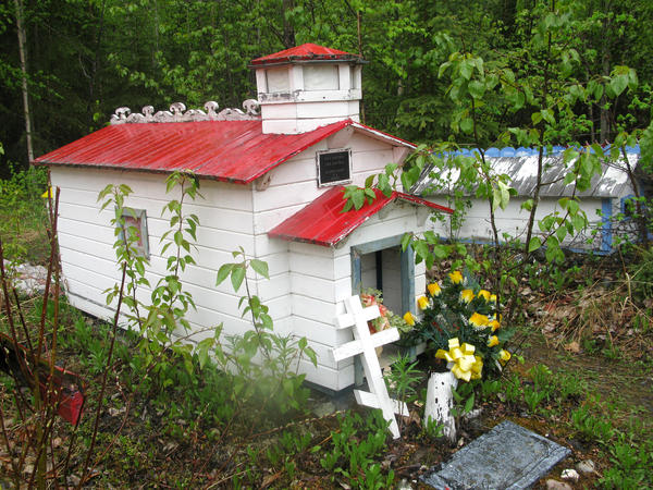 A spirit house in the Eklutna Cemetery in Alaska.