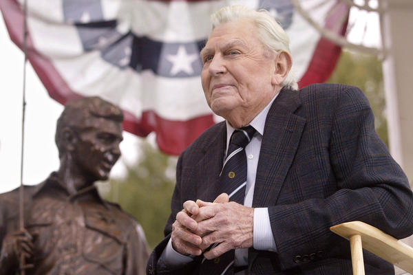Griffith attends the 2003 unveiling of a bronze statue of the characters Andy and Opie from his hit TV series <em>The Andy Griffith Show</em> in Raleigh, N.C.