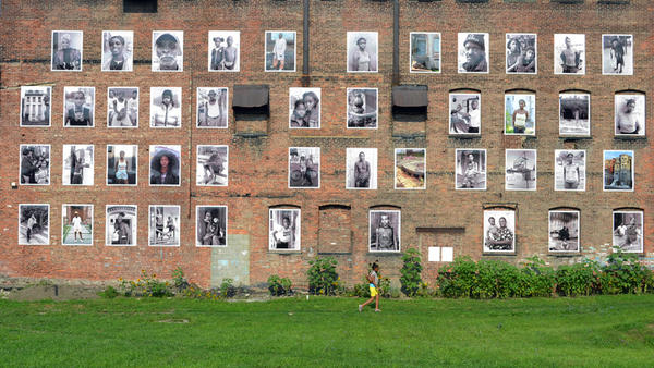 Kasterine's photographs are seen on the wall of of the Ritz Theater in Newburgh, N.Y.