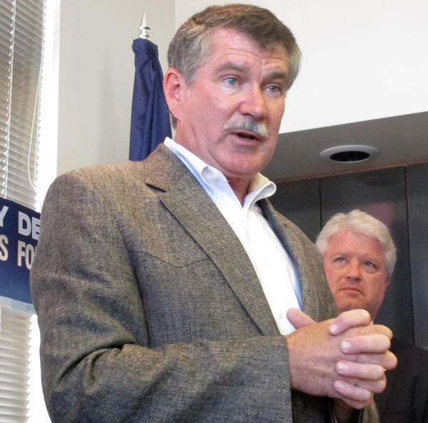 Rep. Denny Rehberg, R-Mont., compaigns in Helena, Mont., on Sept. 7.