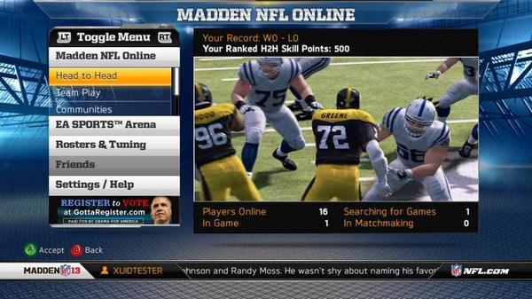 An ad for President Obama's re-election campaign appears in <em>Madden NFL 13</em>.