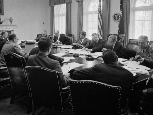 A meeting of the Executive Committee of the National Security Council, advisers to President John F. Kennedy, in the Cabinet Room on Oct. 29, 1962.
