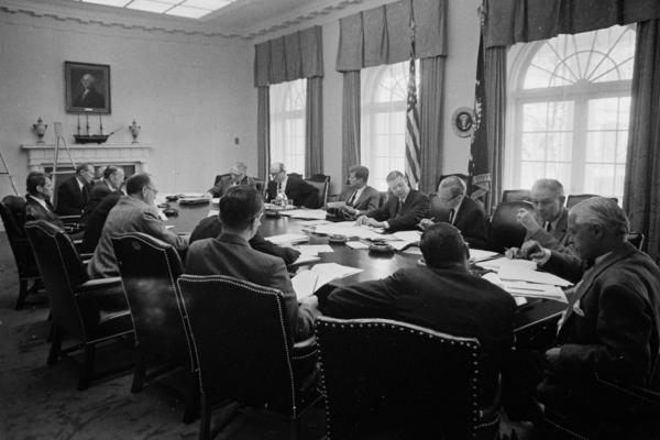 A meeting of the Executive Committee of the National Security Council, advisers to Kennedy, in the Cabinet Room on Oct. 29, 1962.