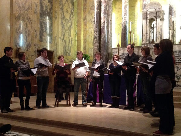 Stile Antico in rehearsal at St. Paul's Church in Cambridge, Mass.