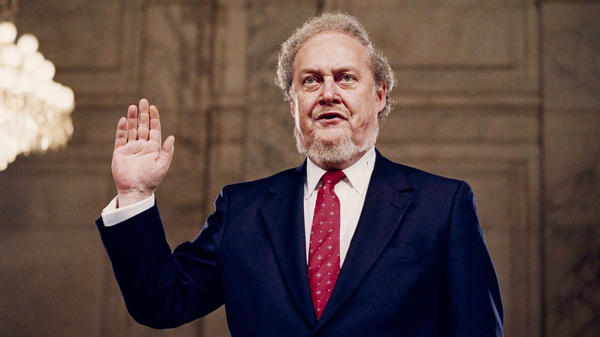 Robert Bork, nominated by President Reagan to the Supreme Court, is sworn in before the Senate Judiciary Committee at his confirmation hearing, Sept. 15, 1987.