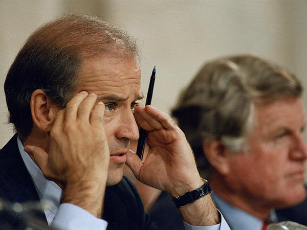 Senate Judiciary Committee Chairman Joe Biden, D-Del., and Sen. Edward Kennedy, D-Mass., on Sept. 17, 1987, during Robert Bork's confirmation hearings. Both Biden and Kennedy ultimately voted against confirming Bork to the Supreme Court.