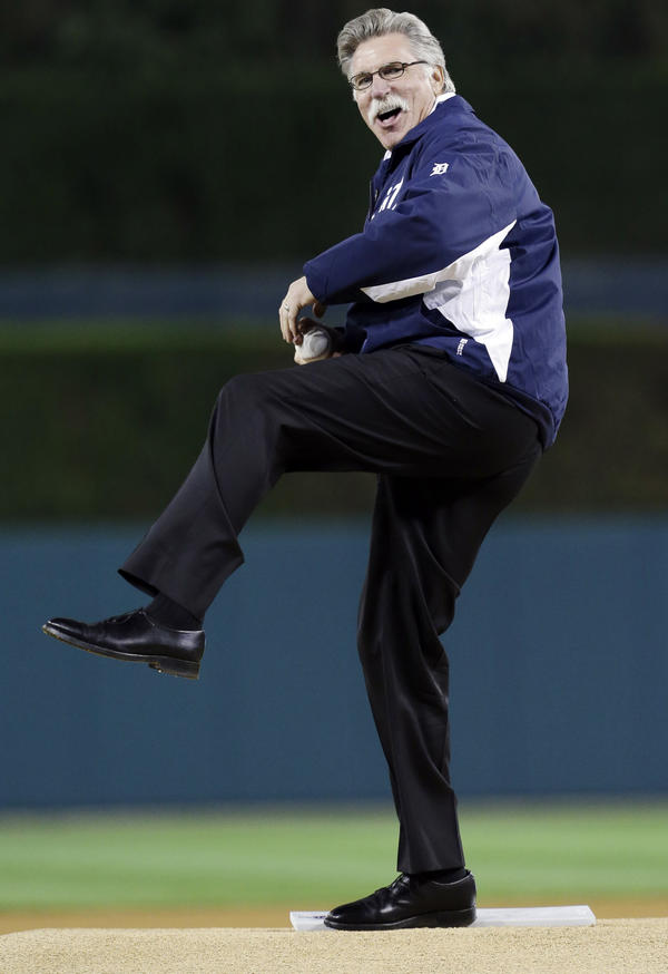 Former Detroit Tigers pitcher Jack Morris throws out the ceremonial first pitch before Game 3 of the American League Championship Series between the Detroit Tigers and New York Yankees on Oct. 16. Morris is a candidate for the National Baseball Hall of Fame this year.