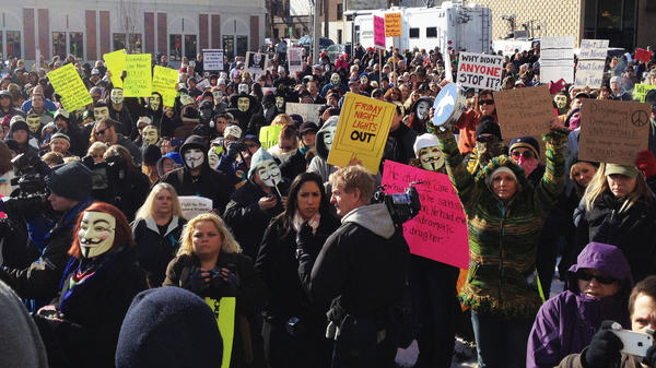 Protesters gather at the Jefferson County Courthouse in Steubenville, Ohio, on Saturday, to demand justice for a girl allegedly raped by Steubenville High School football players last August.