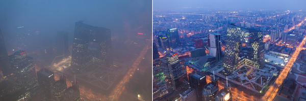 This combination of photos shows (left) the Beijing skyline during severe pollution  Monday, and the same view (right) taken during clear weather on Feb. 4, 2012.