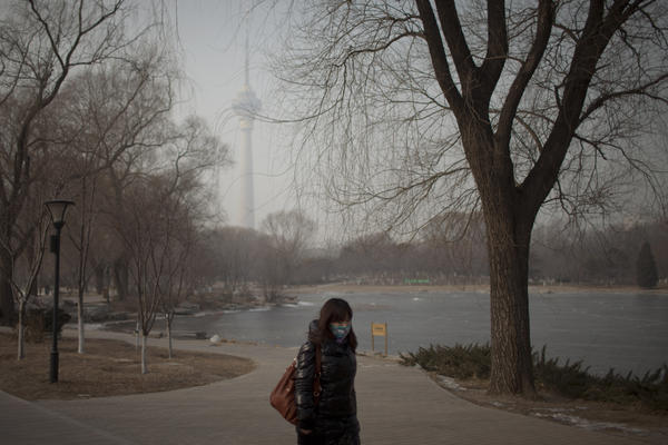 A woman wears a mask while walking in a park near the China Central Television Tower, background, on a hazy day in Beijing. The elderly, children and those suffering from respiratory and cardiovascular diseases are advised to stay indoors to reduce exposure to polluted air.