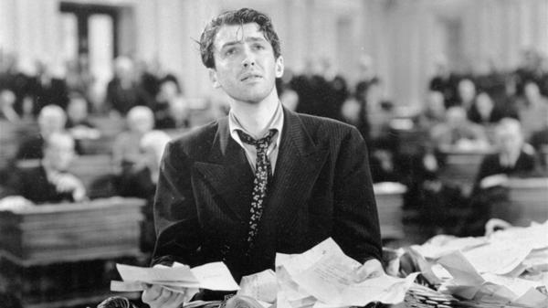 "Actor Jimmy Stewart in a scene from the 1939 movie <em>Mr. Smith Goes to Washington,</em> which popularized the notion of a ""talking filibuster."" Even under changes negotiated in the Senate, the talking filibuster remains a thing of the past."
