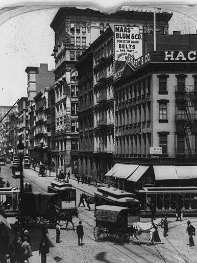 "Each episode of ""The Bowery Boys"" explores a different aspect of New York City history, like how Canal Street, pictured here in 1899, once channeled water from the now-filled Collect Pond."