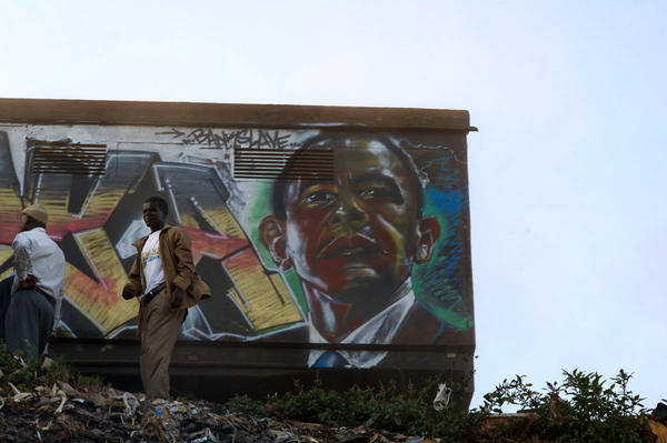"U.S. President Barack Obama as rendered by the artist Bankslave, who was born and still lives in the Kibera slum. During the previous election violence, looters spared his house when they recognized him as ""the guy who paints murals"" around Kibera."