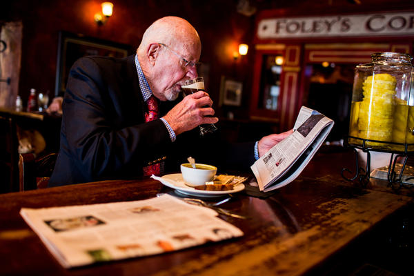 Risser has his usual lunch of soup and beer at an Irish pub across from the state Capitol.