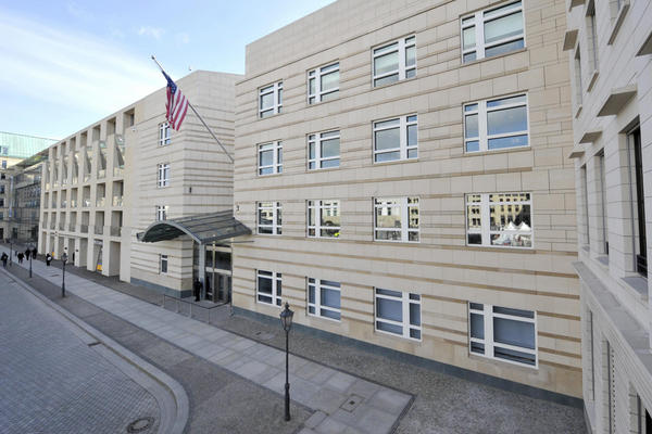 View of the entrance to the U.S. Embassy in Berlin in 2009. The new building opened in 2008 and exemplifies the new design standard to maintain security without sacrificing beauty.