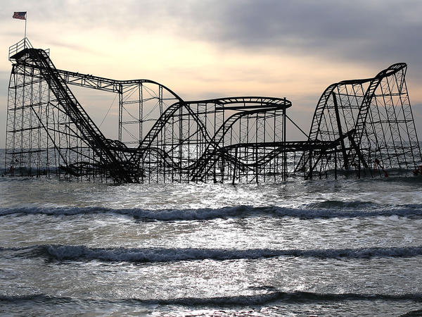 The Star Jet roller coaster sits in the water on Feb. 19 after the Casino Pier in Seaside Heights, N.J., collapsed from the forces of Superstorm Sandy.