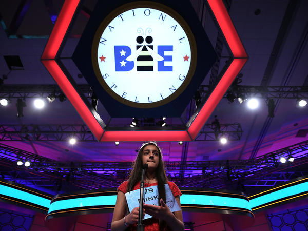 Minka Gill of Kokomo, Ind., participates in Round 2 of the 2013 Scripps National Spelling Bee on Wednesday.