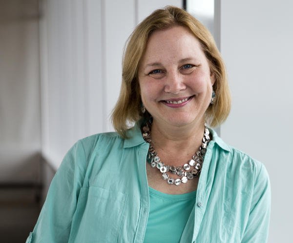Katherine Applegate, pictured above at NPR in Washington, D.C., is the author of <em>The Buffalo Storm</em>, <em>Home of the Brave</em> and <em>The One and Only Ivan.</em> Along with her husband, she co-wrote the young adult series <em>Animorphs</em>.<em> </em>