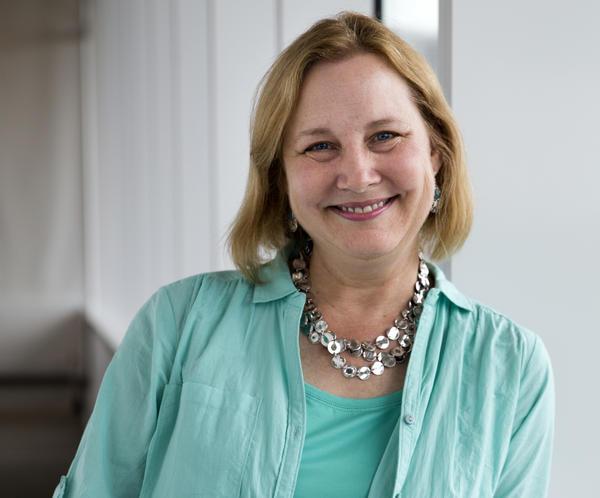 Katherine Applegate, pictured above at NPR in Washington, D.C., is the author of <em>The Buffalo Storm</em>, <em>Home of the Brave</em> and <em>The One and Only Ivan.</em> Along with her husband, she co-wrote the young adult series <em>Animorphs</em>.<em> </em>