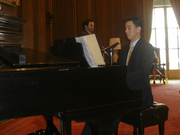 Derrick Wang, pianist and composer, and Peter Scott Drackley, tenor, perform a preview of the opera <em>Scalia/Ginsburg.</em>