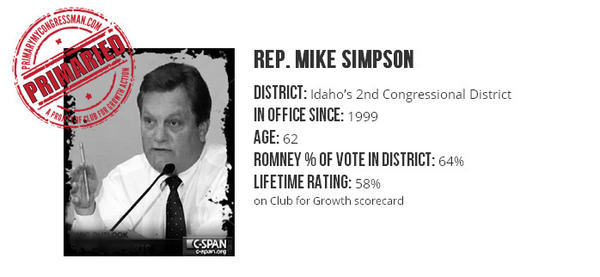 "The Club for Growth is backing a candidate running against Republican Rep. Mike Simpson (shown in this screen shot from the <a href=""http://www.primarymycongressman.com/rep-mike-simpson/"">PrimaryMyCongressman.com</a> site) in Idaho's 2014 GOP primary."