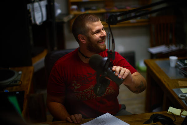 Caleb Diller is a DJ at WVMR-AM, Allegheny Mountain Radio, in Frost, W.Va. The station broadcasts at a low enough frequency to avoid being banned.