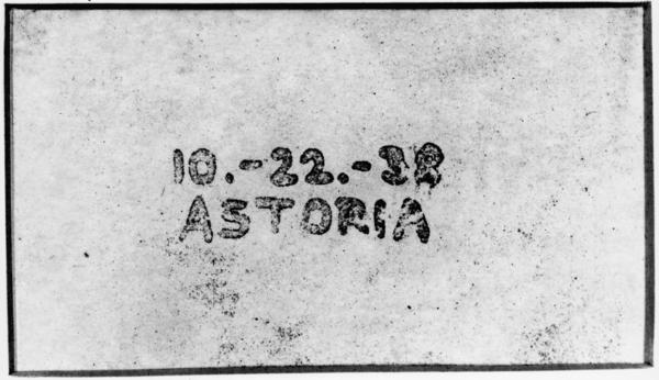 This was the first image created with xerography — on Oct. 22, 1938, in the Astoria neighborhood of Queens.