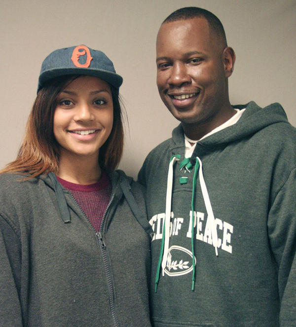 Wil Smith with his daughter, Olivia, today.