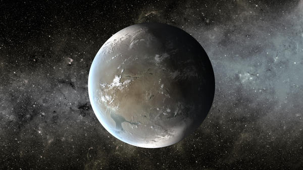 "This is an artist's illustration of Kepler-62f, a planet in the ""habitable zone"" of a star that is slightly smaller and cooler than ours. Kepler-62f is roughly 40 percent larger than Earth."