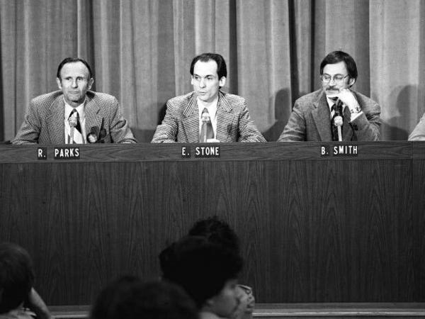 Caltech's Ed Stone and other members of the Voyager mission discuss the spacecraft's closest approach to Jupiter in March 1979.