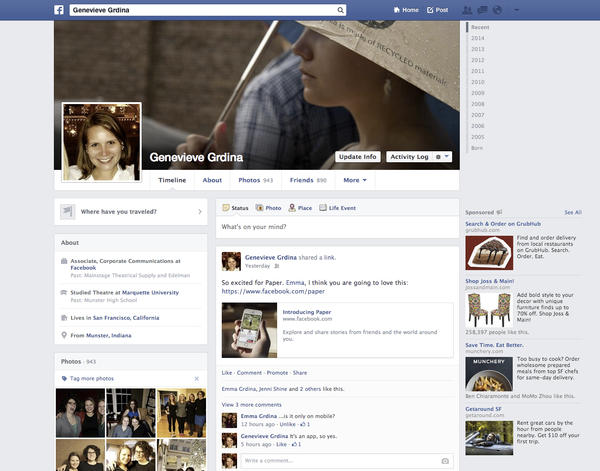 The latest version of Facebook Timeline
