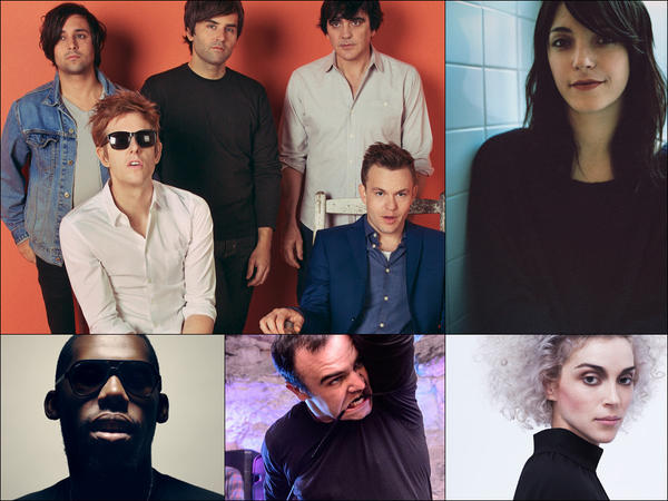 Clockwise from upper left: Spoon, Sharon Van Etten, St. Vincent, Future Islands, Flying Lotus.