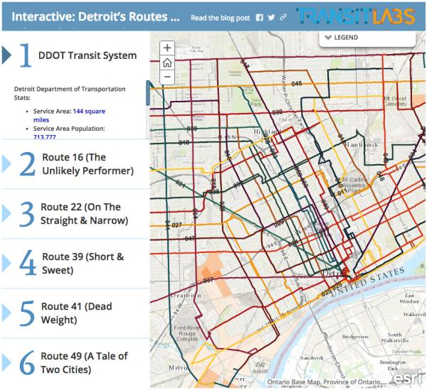 "Transit Labs produced an <a href=""http://blog.transitlabs.com/part-ii-deeper-look-detroits-routes-population-density/"">interactive graphic</a> for a deep look into Detroit's public transportation system."