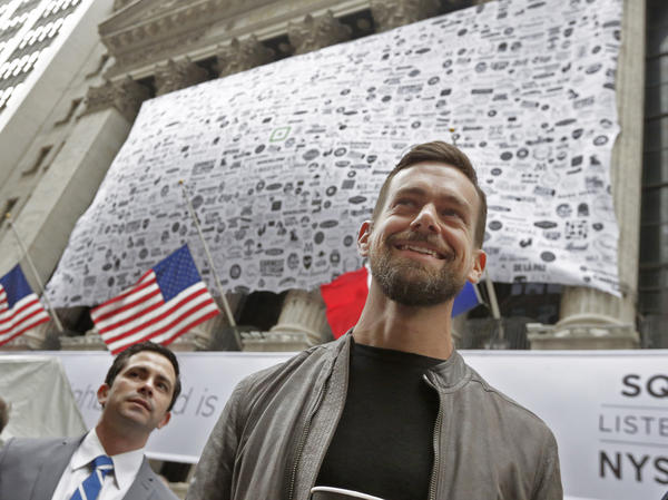 Square CEO Jack Dorsey outside the New York Stock Exchange before his company went public on Thursday.