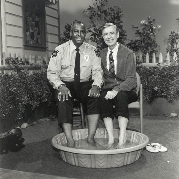 Officer Clemmons and Mister Rogers, reprising their 1969 foot bath more than two decades later, during their final scene together in 1993.
