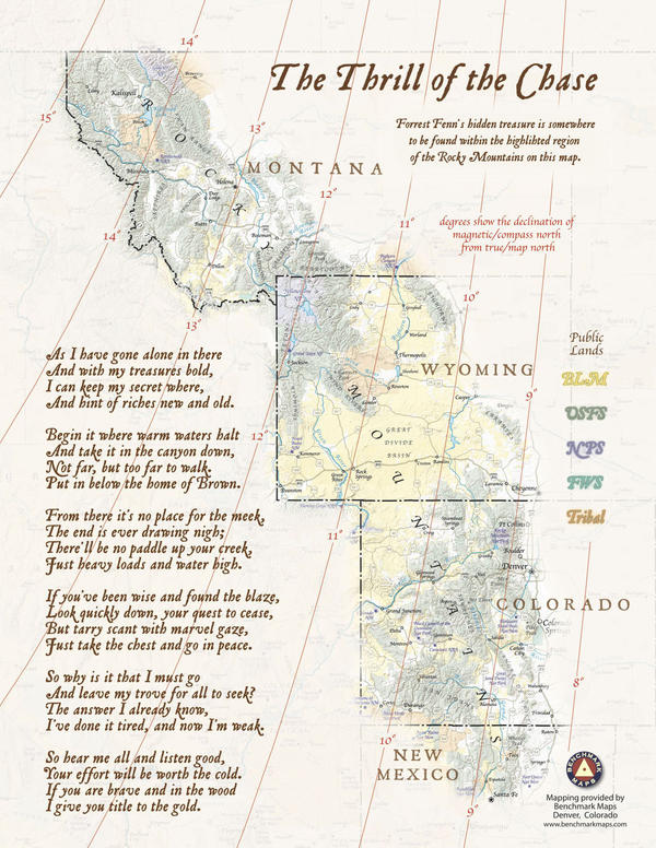 The treasure map and poem from Fenn's book.