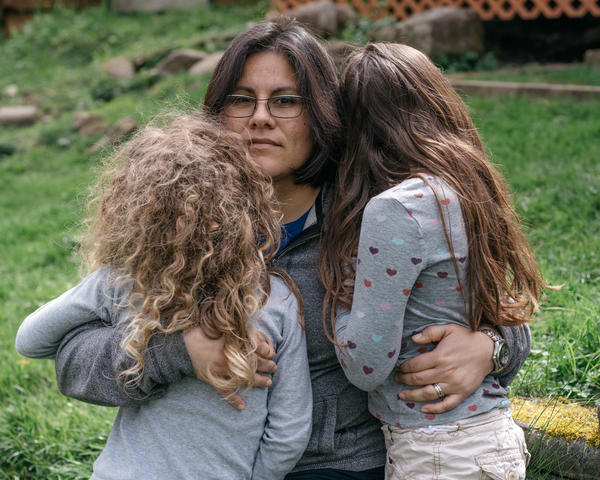 Jena Lopez with her daughters Sophie, left, and Nora. Research suggests that parental support is the key to good mental health in children who transition.