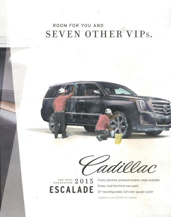 A Cadillac gets washed in Gomez's 2014 <em>The Next Generation Escalade.</em>