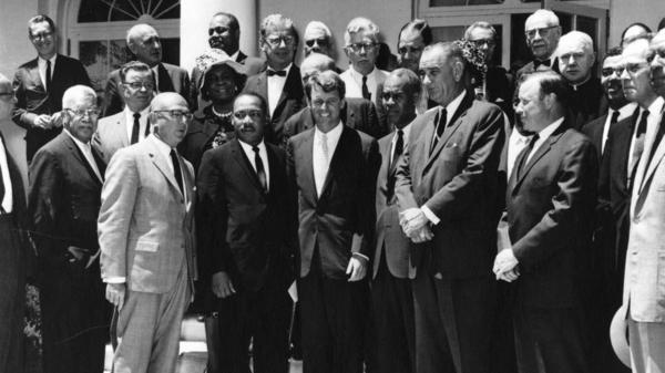 Benjamin Epstein, director of the Anti-Defamation League, stands on Martin Luther King Jr.'s right in this photo with Attorney General Robert F. Kennedy and Vice President Lyndon B. Johnson, taken June 22, 1963.