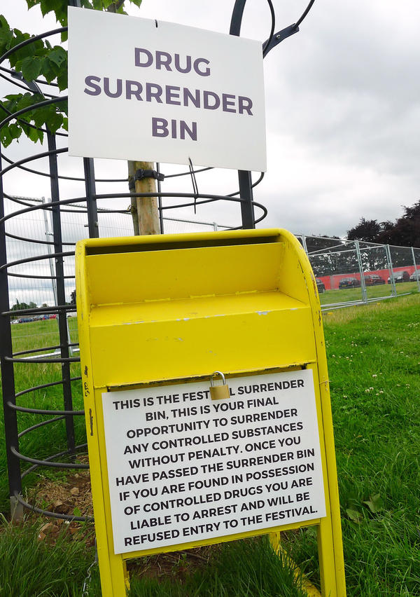 Drug surrender bins at the entrance to Kendal Calling.